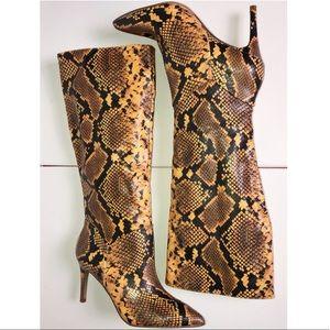 Steve Madden Kinga Snakeskin Tall Heeled Boots 7.5